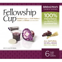 Fellowship Cup Box of 6 - Prefilled Communion Bread & Cup