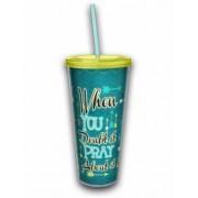 Acrylic Tumbler w/ Straw - Pray About It