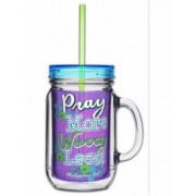 Acrylic Mason Jar w/ Straw - Pray More