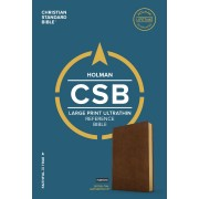 CSB Large Print Ultrathin Reference Bible, British Tan Leath