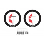 United Methodist Cross & Flame Clergy Static Cling (Pkg of 2