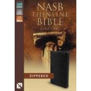 NASB Thinline Zippered Collection Bible, Black, Large Print