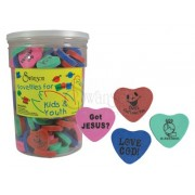 Erasers Assorted Hearts Pk 144